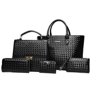 5 Pieces Geometrci Print Handbag Set - BLACK BLACK