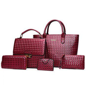 5 Pieces Geometrci Print Handbag Set - RED RED