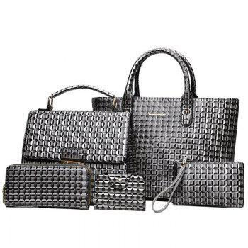 5 Pieces Geometrci Print Handbag Set - GRAY GRAY