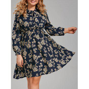 Plus Size Long Sleeve Floral Pussy Bow Dress