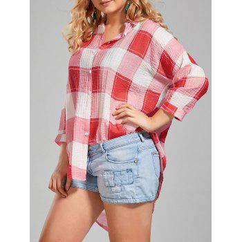 Plus Size Long High Low Plaid Button Up Shirt