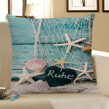 Fishing Net Heart Starfish Wood Grain Print Pillow Case - LIGHT BLUE 45*45CM