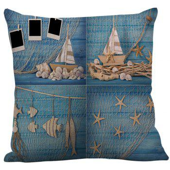 Starfish Fishing Net Wood Grain Print Pillow Case - LIGHT BLUE 45*45CM