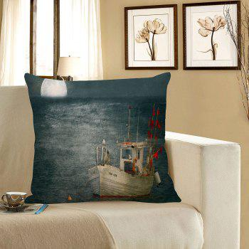 Sea Sailboat Moon Print Decorative Pillow Case - BLUE GRAY BLUE GRAY