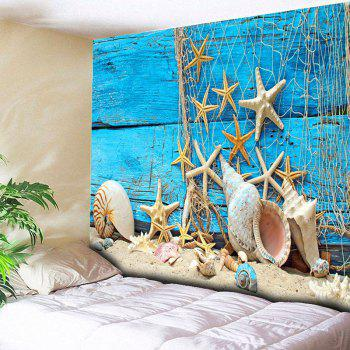 Wall Hanging Beach Starfish Wood Home Decor Tapestry - BLUE W59 INCH * L59 INCH