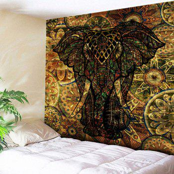 Wall Hanging Vintage Elephant Printed Tapestry - DEEP BROWN DEEP BROWN
