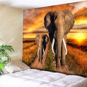 Elephant Printed Wall Hanging Home Decor Tapestry - YELLOW YELLOW