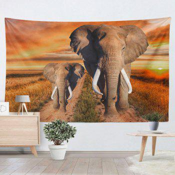 Elephant Printed Wall Hanging Home Decor Tapestry - YELLOW W59 INCH * L79 INCH