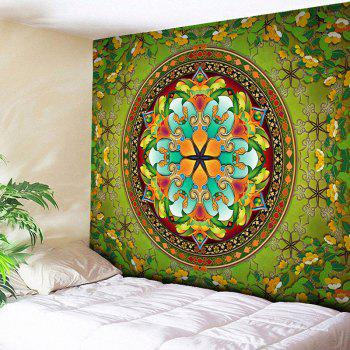 Flower Wall Hanging Mandala Print Home Tapestry - GREEN W51 INCH * L59 INCH