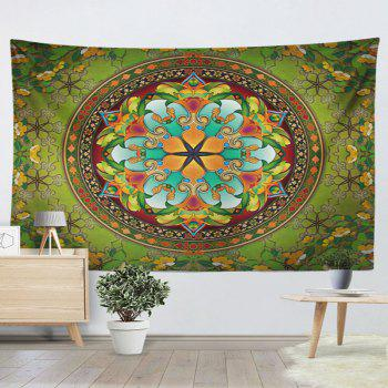 Flower Wall Hanging Mandala Print Home Tapestry - GREEN W59 INCH * L59 INCH