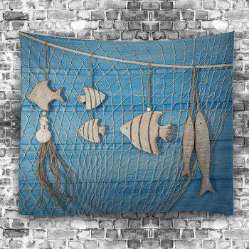 Fish Wood Grain Fishing Net Print Wall Tapestry - LIGHT BLUE W59 INCH * L59 INCH