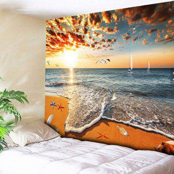 Wall Hanging Golden Beach Home Decor Tapestry - YELLOW YELLOW