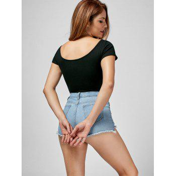 Short Sleeve Lace Up Bodysuit - BLACK L