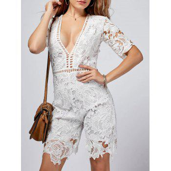 Crochet Plunging Neck Cut Out Romper