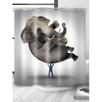 Elephant Animal Waterproof Polyester Shower Curtain - GRAY W71 INCH * L79 INCH