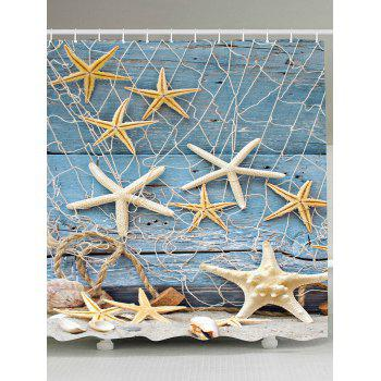 Fishing Net Starfish Wood Grain Nautical Shower Curtain
