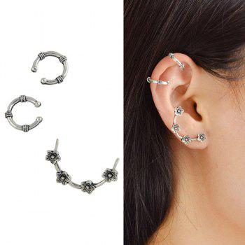 Flower Cartilage Earring Ear Cuff Set