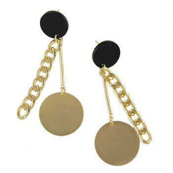 Round Disc Drop Chain Earrings - GOLDEN