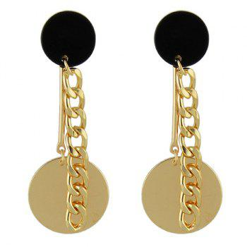 Round Disc Drop Chain Earrings