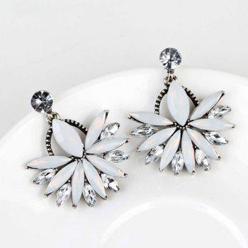 Statement Rhinestoned Floral Drop Earrings - WHITE