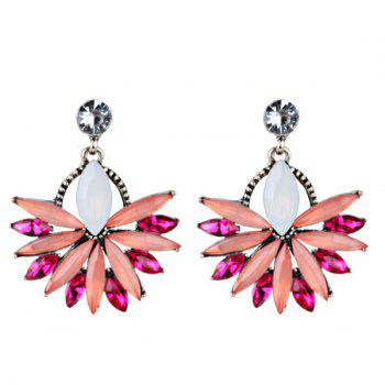 Statement Rhinestoned Floral Drop Earrings