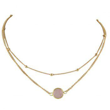Layered Faux Gemstone Round Necklace - PINK PINK