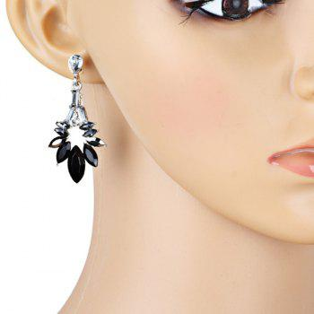 Vintage Rhinestoned Dangle Earrings - BLACK