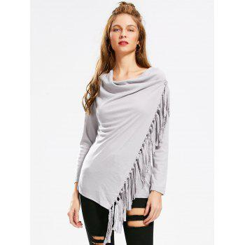 Asymmetric Long Sleeve Tassel Top - GRAY S