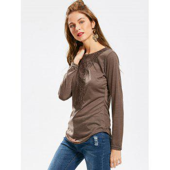 Concise Scoop Neck Hollow Out Crochet Spliced Solid Color T-Shirt For Women - COFFEE L