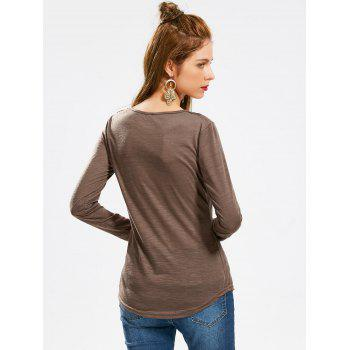 Concise Scoop Neck Hollow Out Crochet Spliced Solid Color T-Shirt For Women - COFFEE XL