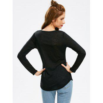 Concise Scoop Neck Hollow Out Crochet Spliced Solid Color T-Shirt For Women - BLACK L