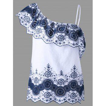 Asymmetric Embroidered Top - BLUE AND WHITE XL