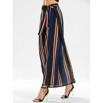 Side Slit Stripe Wide Leg Pants