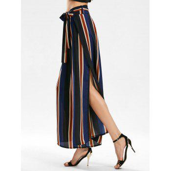 Side Slit Stripe Wide Leg Pants - BLUE BLUE