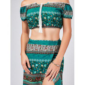 Bohemian Printed Crop Top + High Split Wrap Jupe - multicolorcolore M