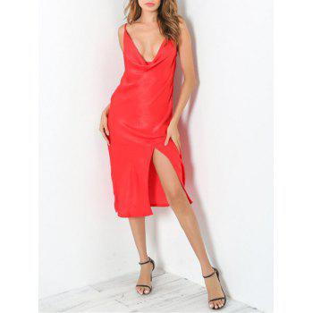 Low Cut Front Slit Club Night Dress - M M