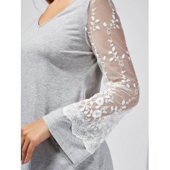 Lace Panel Floral Crochet See Thru Tee - LIGHT GREY LIGHT GREY