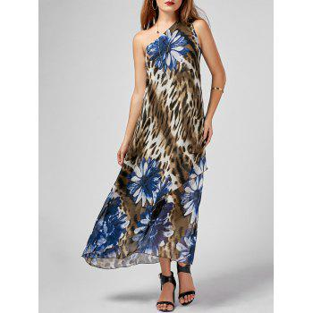 Leopard Floral Print One Shoulder Maxi Dress