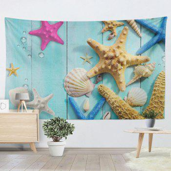 Wall Hanging Beach Starfish Wood Grain Print Tapestry - SKY BLUE W59 INCH * L79 INCH