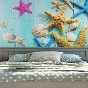 Wall Hanging Beach Starfish Wood Grain Print Tapestry - SKY BLUE W51 INCH * L59 INCH