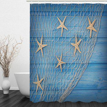 Starfish Fishing Net Wood Grain Nautical Shower Curtain - W79 INCH * L79 INCH W79 INCH * L79 INCH