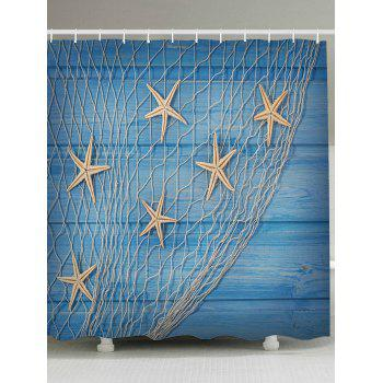 Starfish Fishing Net Wood Grain Nautical Shower Curtain - LIGHT BLUE W79 INCH * L79 INCH