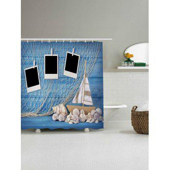 Fishing Net Conch Boat Seashell Nautical Shower Curtain - W59 INCH * L71 INCH W59 INCH * L71 INCH