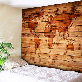 World Map Wall Hanging Wood Grain Print Tapestry - ROSEWOOD W59 INCH * L59 INCH