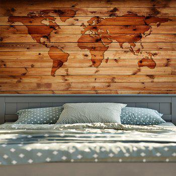 World Map Wall Hanging Wood Grain Print Tapestry - W51 INCH * L59 INCH W51 INCH * L59 INCH