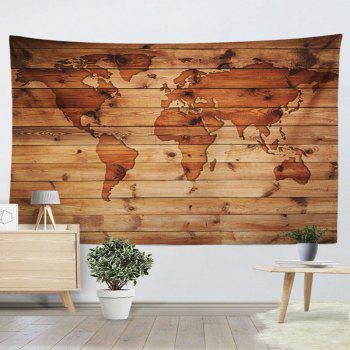 World Map Wall Hanging Wood Grain Print Tapestry - ROSEWOOD W51 INCH * L59 INCH
