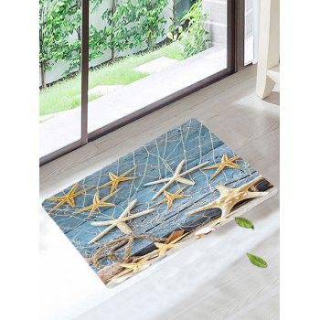 Starfish Fishing Net Wood Grain Skidproof Rug