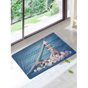Nonslip Fishing Net Lighthouse Conch Rug - BLUE W16 INCH * L24 INCH