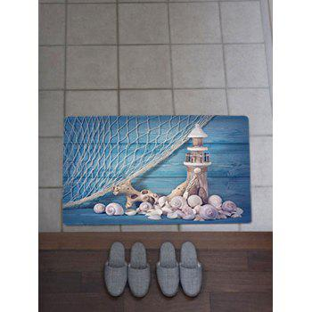 Nonslip Fishing Net Lighthouse Conch Rug - BLUE BLUE