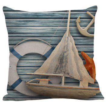 Starfish Sailboat Anchor Wood Grain Print Pillow Case - LIGHT BLUE LIGHT BLUE